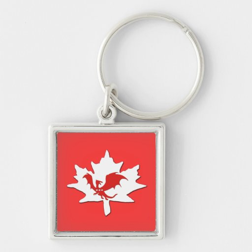 Patriotic Canadian Dragon Red Keychains