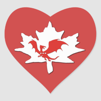 Patriotic Canadian Dragon Red Heart Sticker