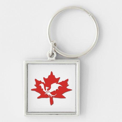 Patriotic Canadian Dragon White Keychain