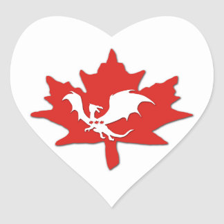 Patriotic Canadian Dragon White Heart Sticker