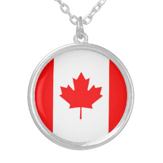 Patriotic Canadian Flag Silver Plated Necklace