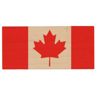 Patriotic Canadian Flag Wood USB Flash Drive
