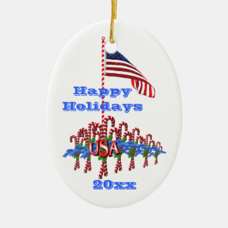 Patriotic Candy Canes Oval Ornament