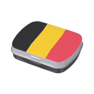 Patriotic candy tins with Flag of Belgium