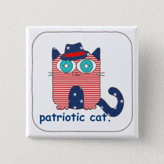 Patriotic Cat Button Pin