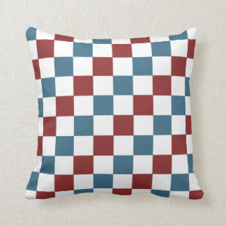 Patriotic Checker Pattern Throw Pillow