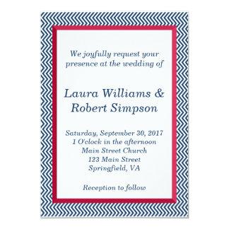 Patriotic Chevron Border Wedding Invitation