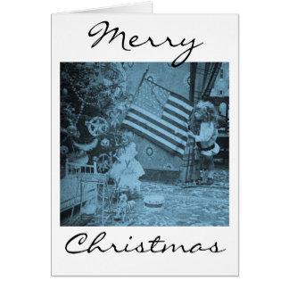 Patriotic Christmas American Flag Vintage Greeting Card