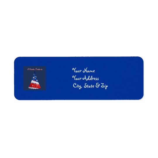 Patriotic Christmas, red, white, blue tree / blue Return Address Label