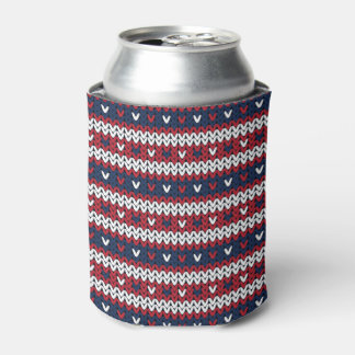 Patriotic Christmas Sweater Pattern Can Cooler
