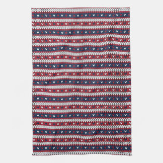 Patriotic Christmas Sweater Pattern Tea Towel