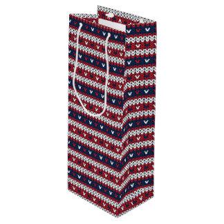 Patriotic Christmas Sweater Pattern Wine Gift Bag
