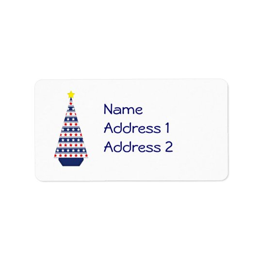 Patriotic Christmas Tree Return Address/Mailing Address Label