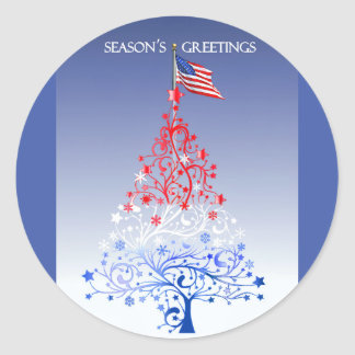 Patriotic Christmas Tree with American Flag Classic Round Sticker