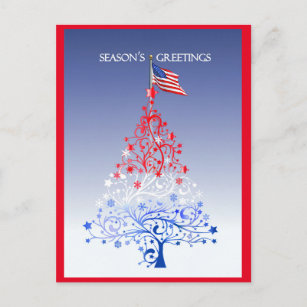 b3793575fc98 Patriotic Christmas Tree with American Flag Holiday Postcard