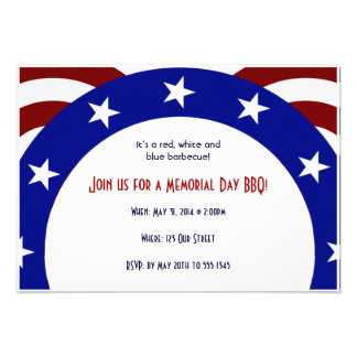 Patriotic Circle of Stars Memorial Day Invites