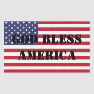 Patriotic Classic and powerful God Bless America Rectangular Sticker