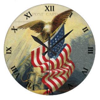 Patriotic Clock - Eagle and Flag