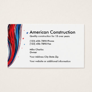 Patriotic Construction Business Card
