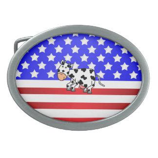 Patriotic cow oval belt buckle