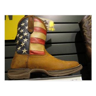 Patriotic Cowboy Boot Postcard
