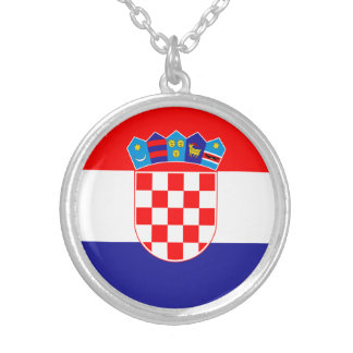 Patriotic Croatian Flag Silver Plated Necklace