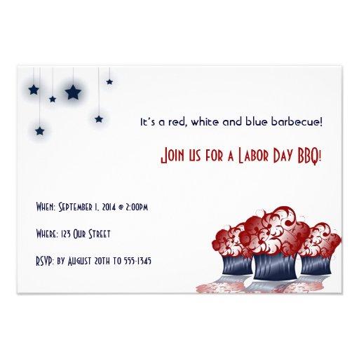 Patriotic Cupcake Labor Day Party Invitation