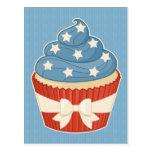 Patriotic Cupcake on Blue Stripes Postcard
