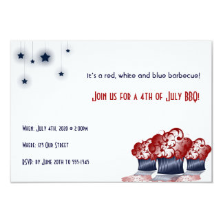Patriotic Cupcake Party 9 Cm X 13 Cm Invitation Card