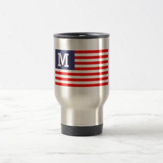 Patriotic custom monogrammed American flag USA Travel Mug