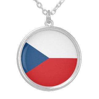 Patriotic Czech Republic Flag Silver Plated Necklace