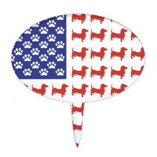Patriotic Dachshund Doxie Cake Pick