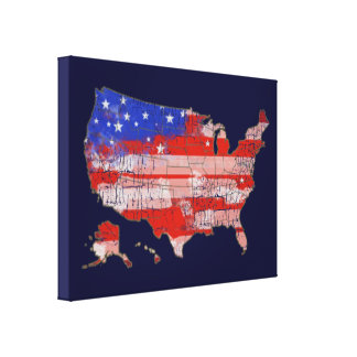 patriotic decor USA stripes and stars map Gallery Wrapped Canvas