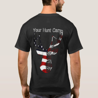 Patriotic Deer Head Mount Hunt Camp Shirt