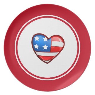 Patriotic Design 4th of July Party Melamine Plates