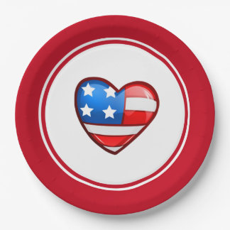 Patriotic Design 4th of July Party Paper Plates 9 Inch Paper Plate