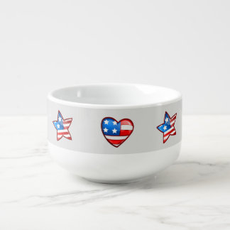 Patriotic Design 4th of July Party Soup Mugs Soup Bowl With Handle