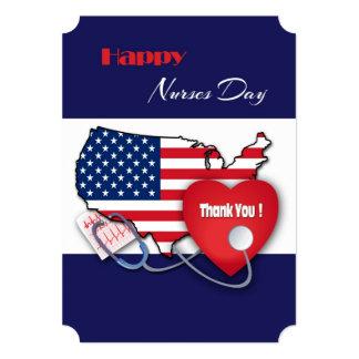 Patriotic Design Nurses Day Custom Flat Cards