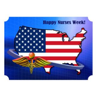 Patriotic Design Nurses Week Custom Flat Cards