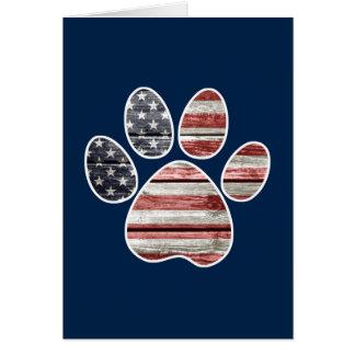 Patriotic Dog, American Flag Paw Print Card
