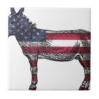 Patriotic Donkey Ceramic Tile
