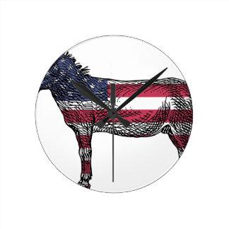 Patriotic Donkey Round Clock