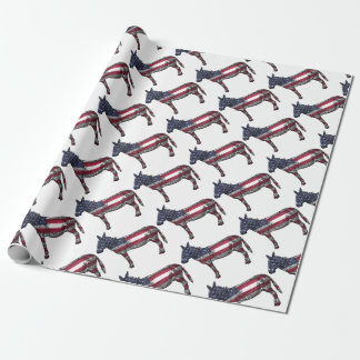 Patriotic Donkey Wrapping Paper