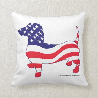 Patriotic Doxie Throw Pillow