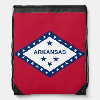 Patriotic drawstring backpack with Arkansas Flag