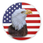 Patriotic  Eagle and USA Flag Ceramic Knob