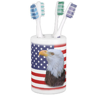 Patriotic  Eagle and USA Flag  Customizable Soap Dispenser And Toothbrush Holder