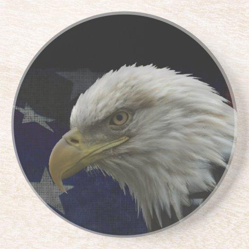 Patriotic Eagle & Flag Beverage Coasters