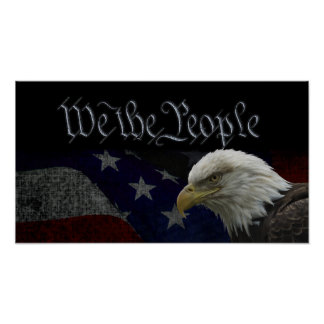 Patriotic Eagle & Flag Poster
