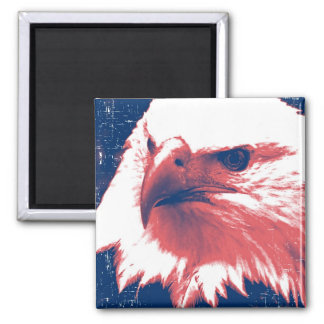 Patriotic Eagle in  Red, White,and Blue Square Magnet